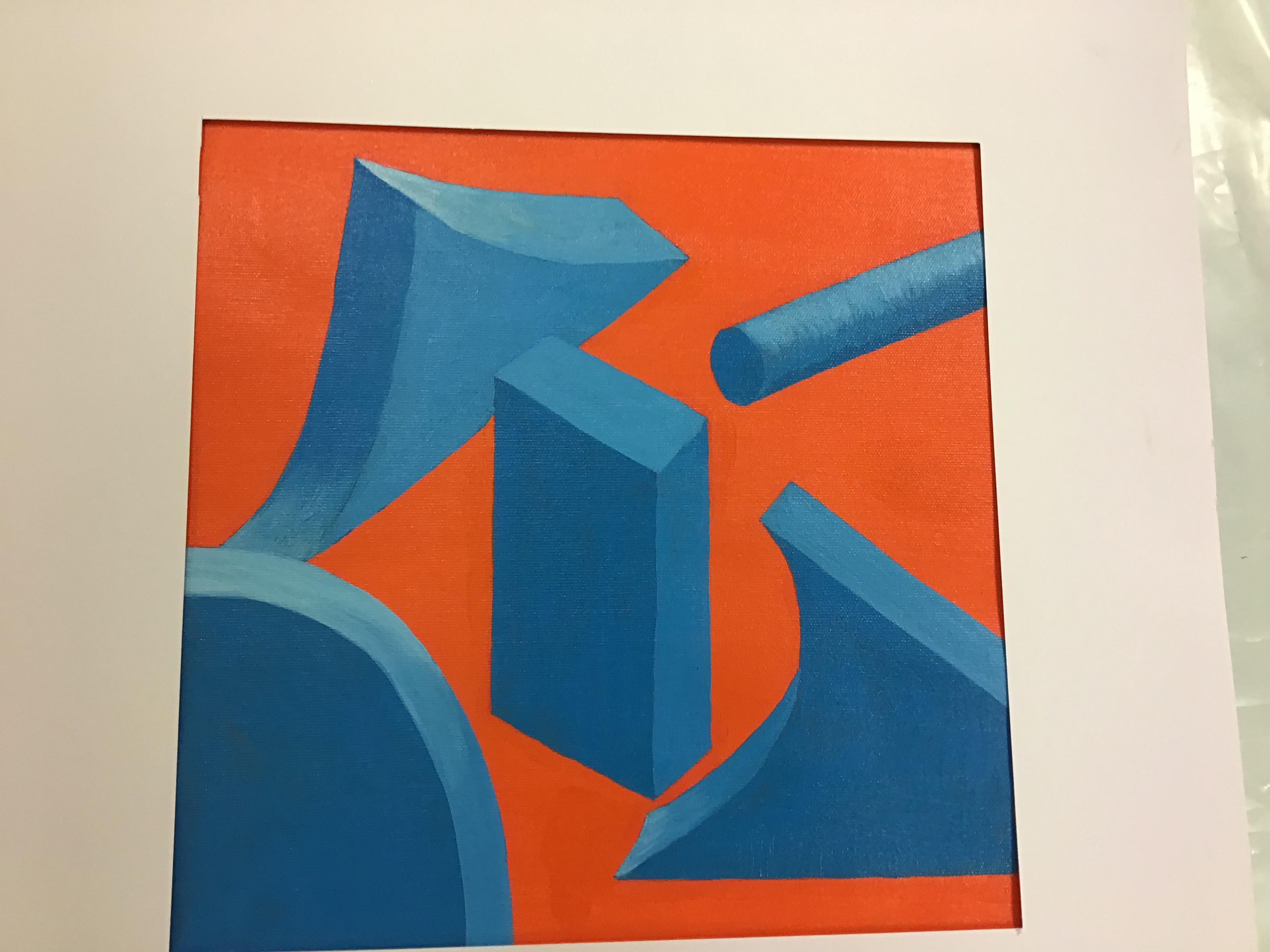 """Uppgift """"Det vita rummet"""" målat med akrylfärger. Orange bakgrund och former med skuggor i olika blå nyanser."""