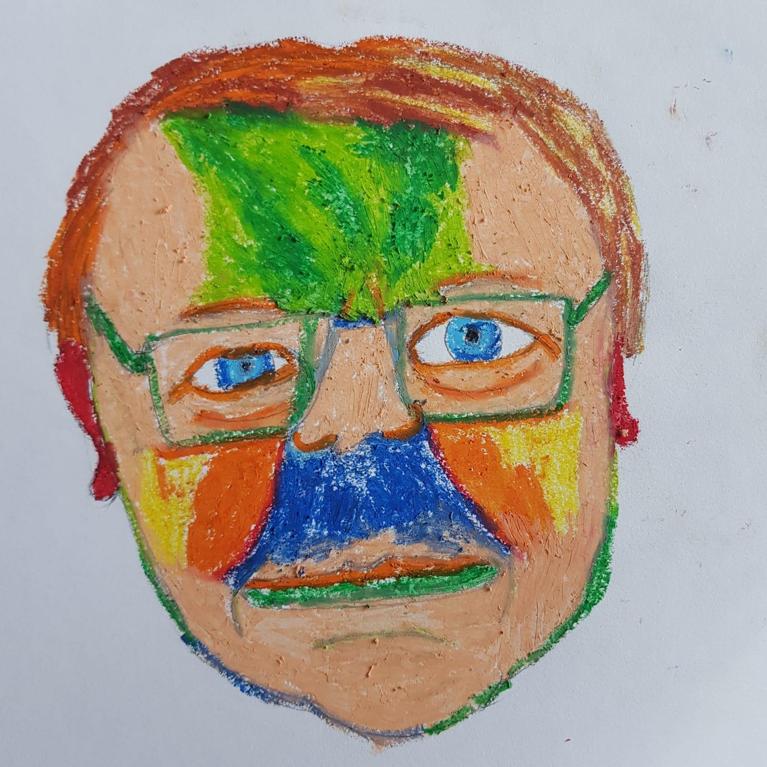 Porträtt av Oscar målat i oljepastell i olika färger.