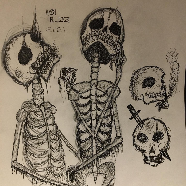 Olika studier av kranium och skelett