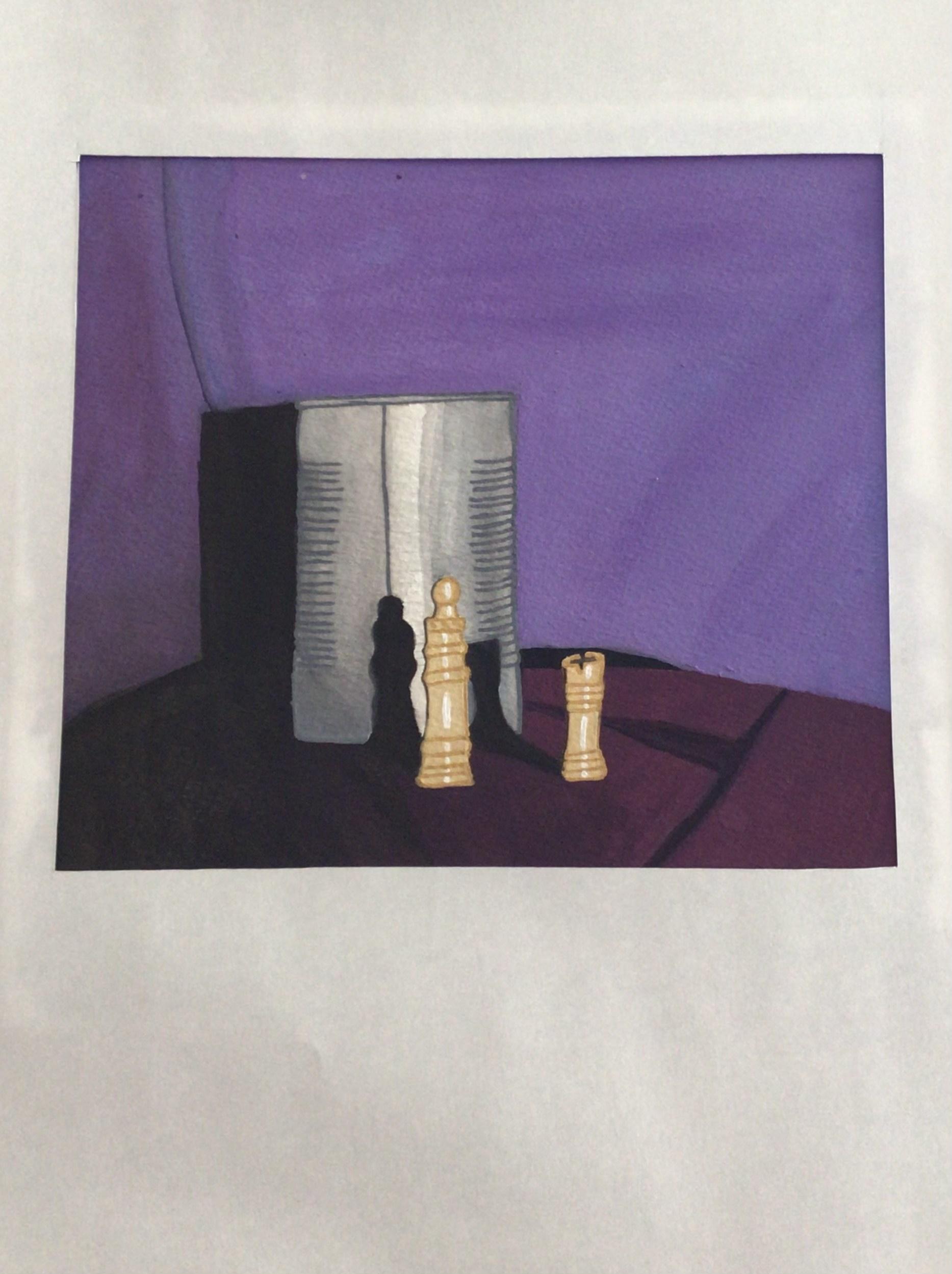 Komposition med plåtburk och två trä-färgade schackpjäser på vinrött tyg mot en blålila bakgrund. Bilden är målad med akvarell