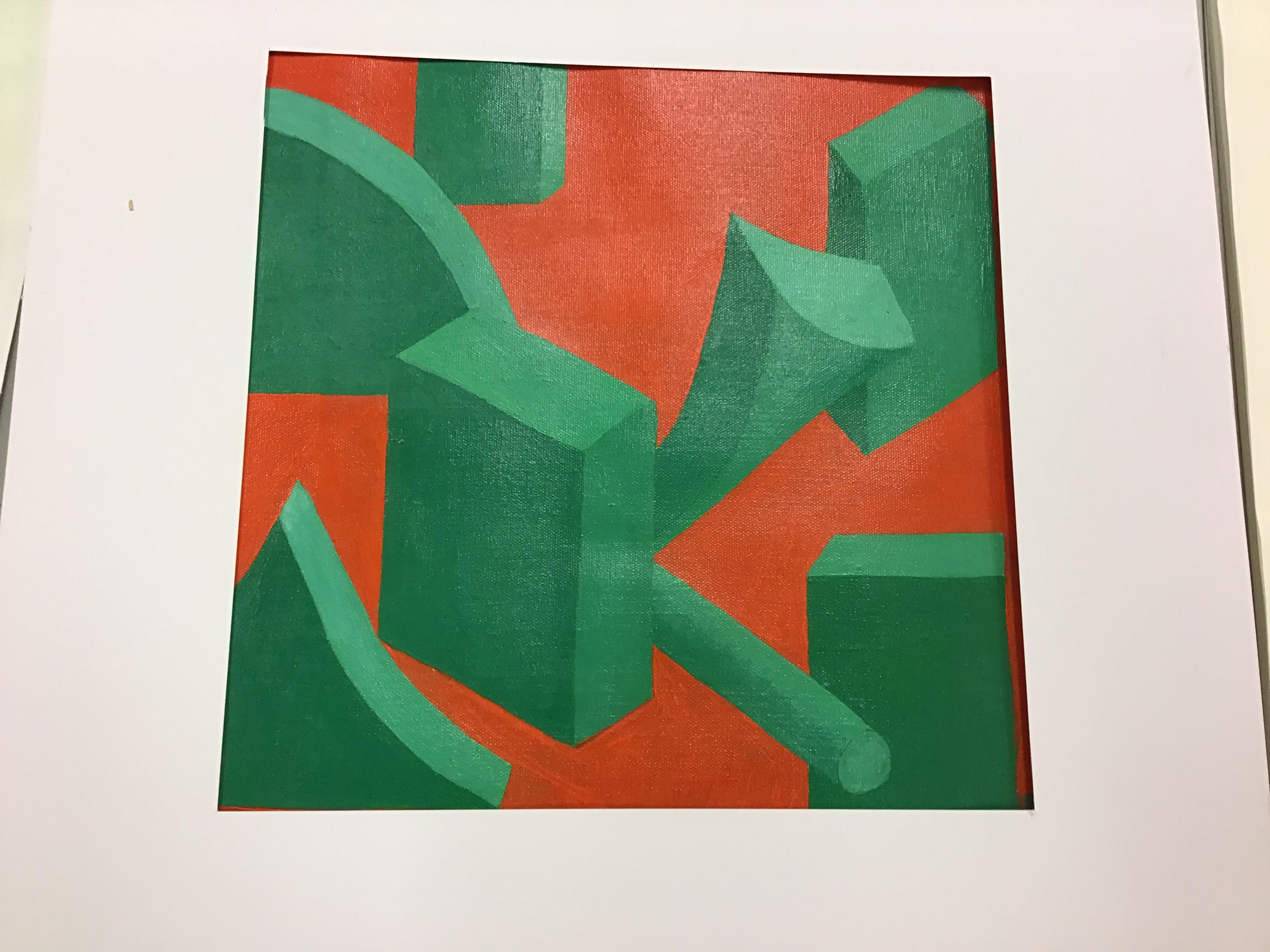 """Uppgift """"Det vita rummet"""" målat med akrylfärger. Orange bakgrund och former med skuggor i olika gröna nyanser."""