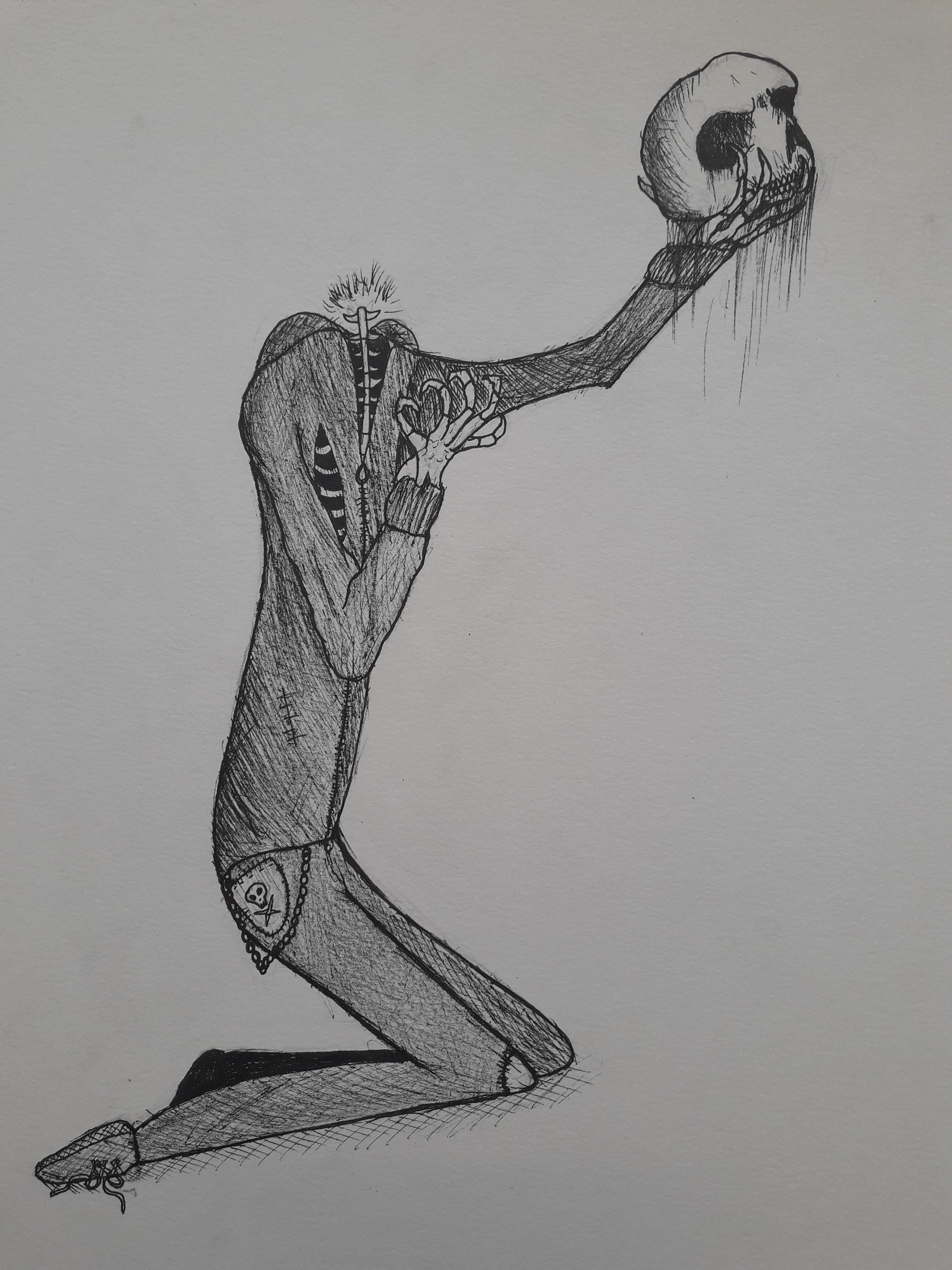 Teckning i svart tusch av en person som knäböjer utan huvud och håller et kranium i sin hand.